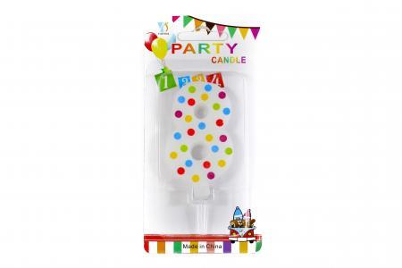 Multi Color Polk Dot Candle No. 8-0