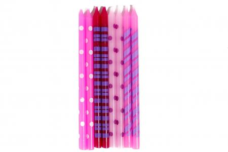 """Polka Dot & Stripes Designer Candle Pink 6"""" - 16PC-0"""