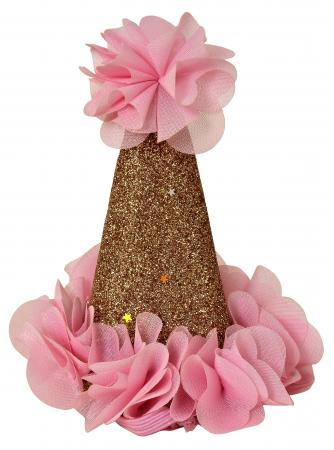 Golden Conical Hat with Pink Flower_702265