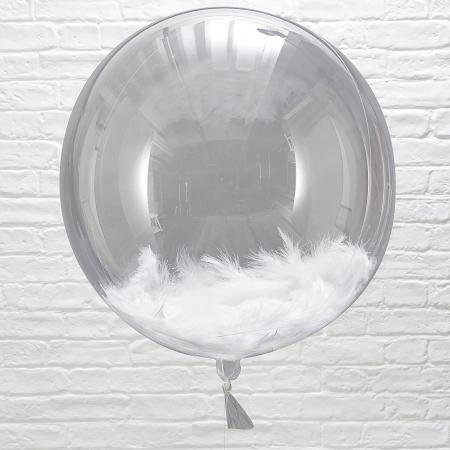 Clear Bubble Balloons w_ White Feathers_702243