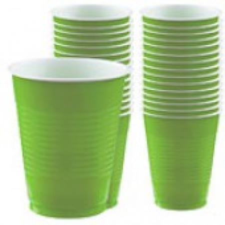 Beer Pong Green Plastic Glasses-20 CT-0