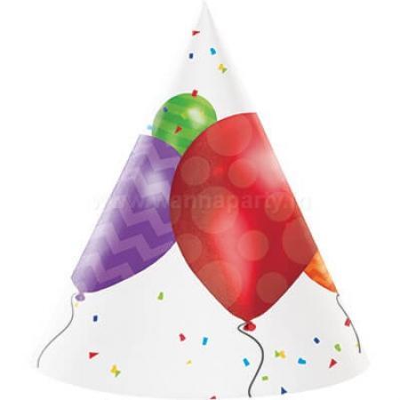 Balloons Blast Birthday Hat - 8PC-0